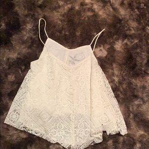 American Eagle white flowy lace tank top